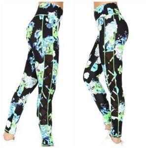 Double mesh panels active leggings w/ pockets